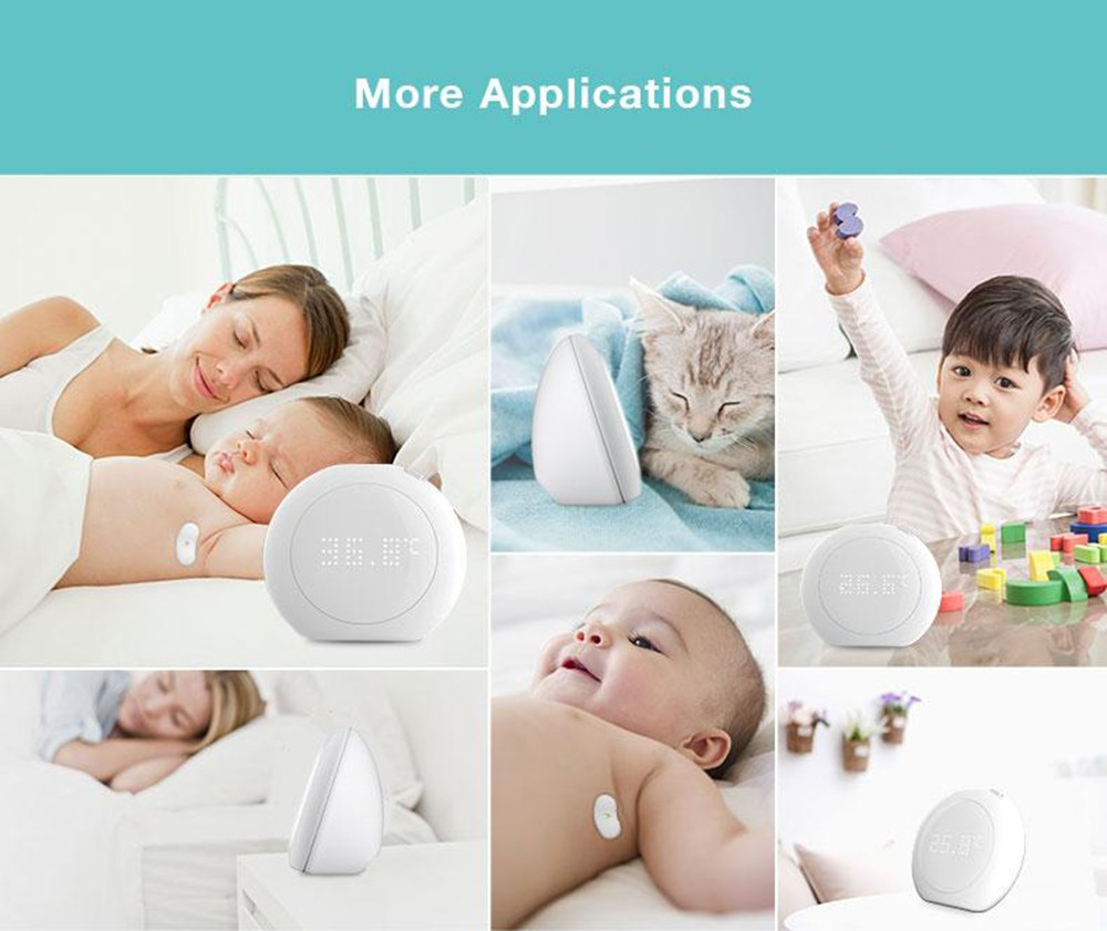 Fanmi FL - BFM001 24 Hour Intelligent Baby Fever Monitor with Wireless Alerts Wearable Smart Thermometer Digital Accurate Reading for Infant Toddlers ( Xiaomi Ecosystem Product )- White