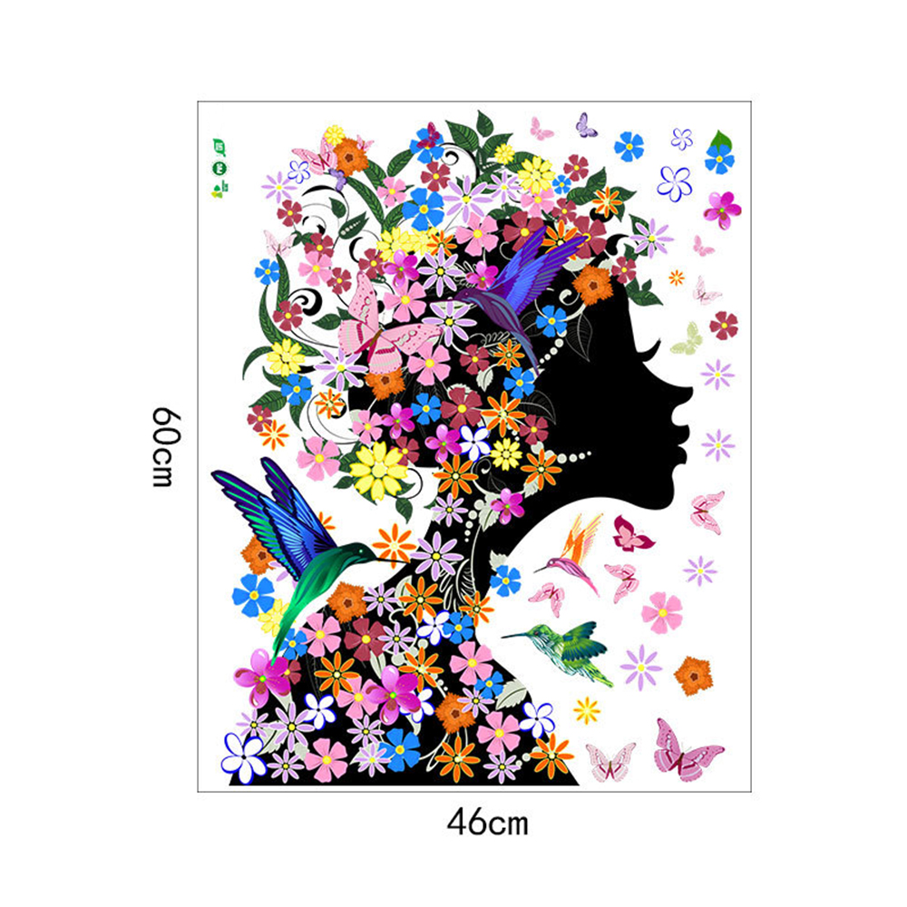 Cartoon Flower Girl Movable PVC Window Film Wall Stickers For Home Decoration- Multi 16 x 24 inch