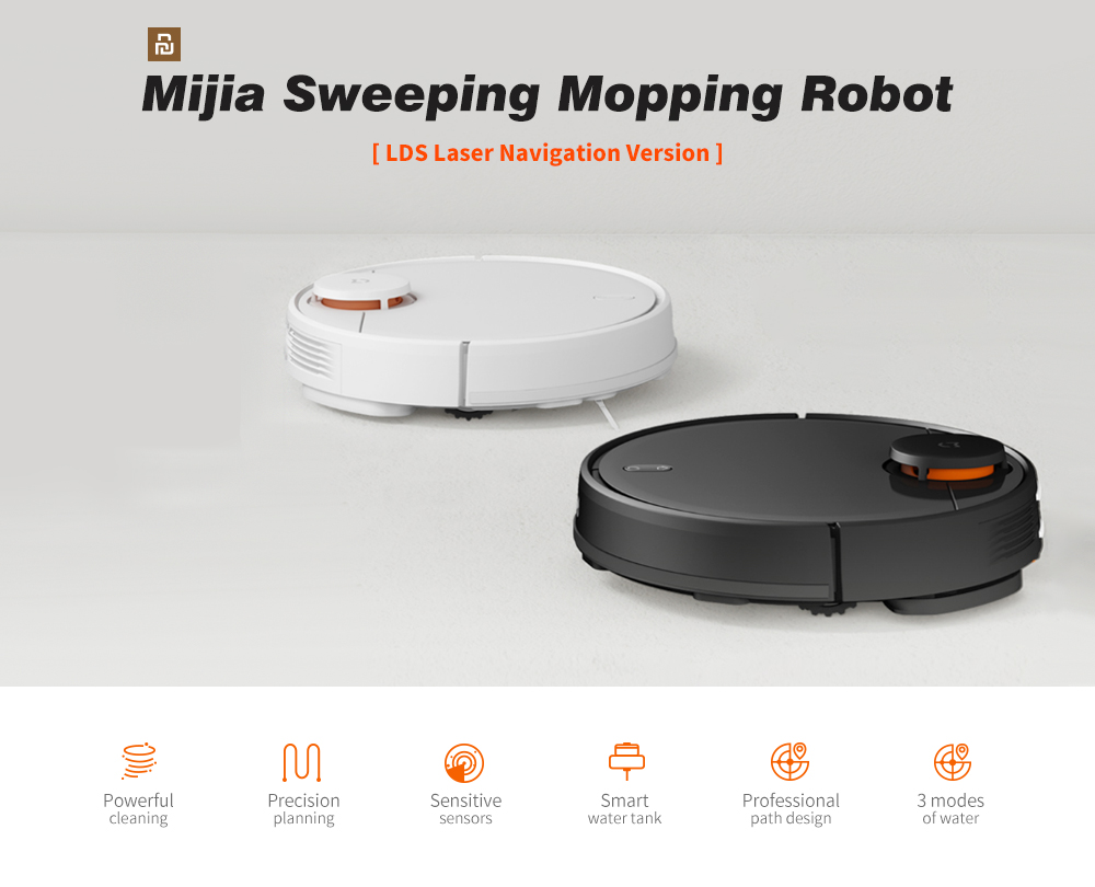 Xiaomi Mijia STYJ02YM 2 in 1 Sweeping Mopping Robot Machine Vacuum Cleaner with LDS Laser Navigation / Supporting 3 Modes / Intelligent Electric Control Water Tank / 2100Pa Large Suction / Smart Path Planning- Black