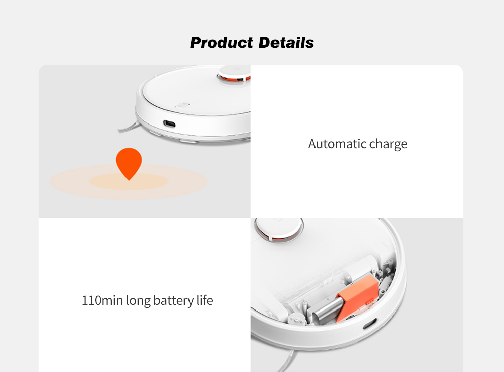 Xiaomi Mijia STYTJ02YM 2 in 1 Sweeping Mopping Robot Machine Vacuum Cleaner with LDS Laser Navigation / Supporting 3 Modes / Intelligent Electric Control Water Tank / 2100Pa Large Suction / Smart Path Planning - Black