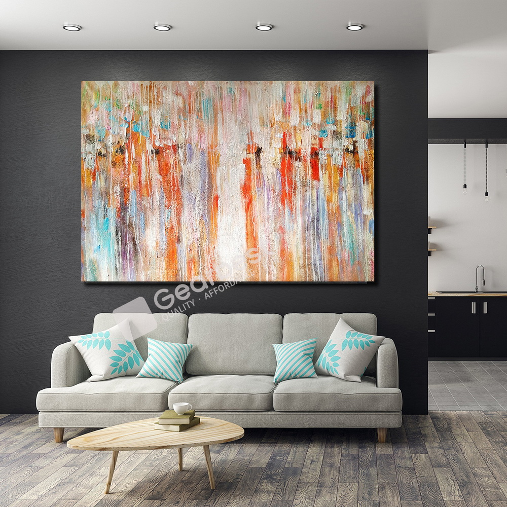 QINGYAZI HQ068 Hand-Painted Abstract Oil Painting Home Wall Art Painting- Orange 24 x 36 inch (60cm x 90cm)