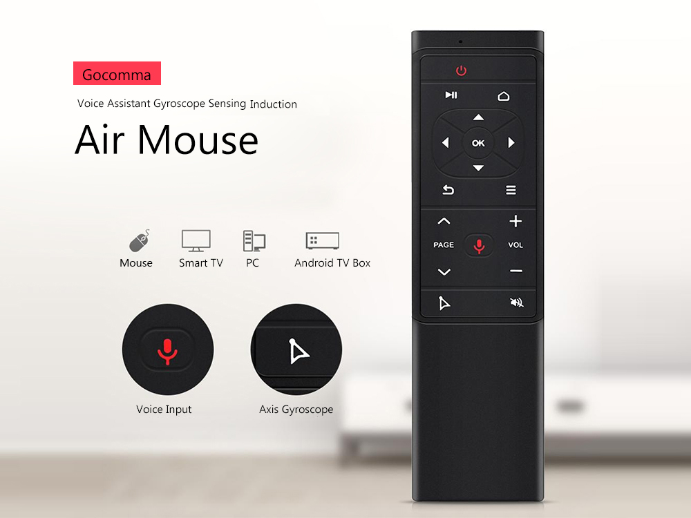 Gocomma Voice Assistant Gyro Induction Air Mouse- Black