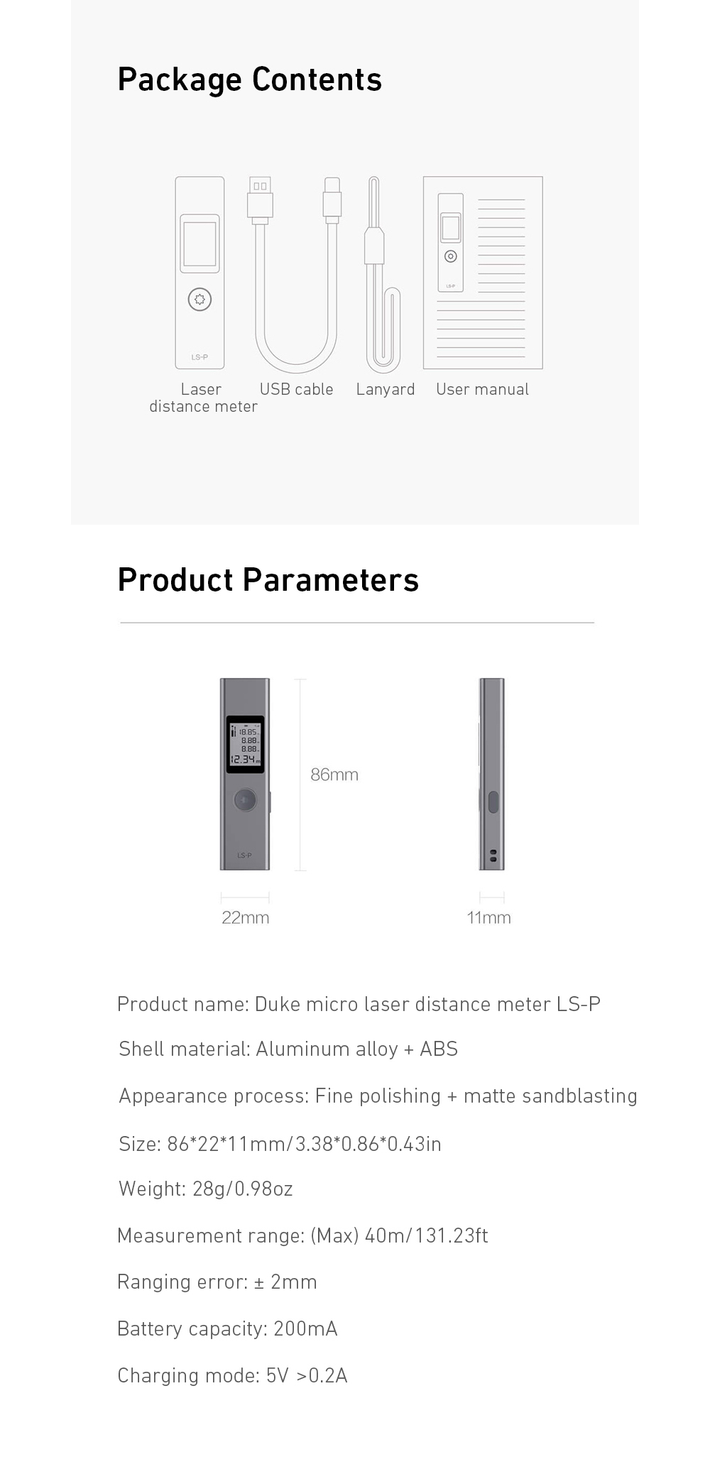 LS - P Laser Range Finder High-precision Infrared Hand-held Distance Meter from Xiaomi youpin- Silver