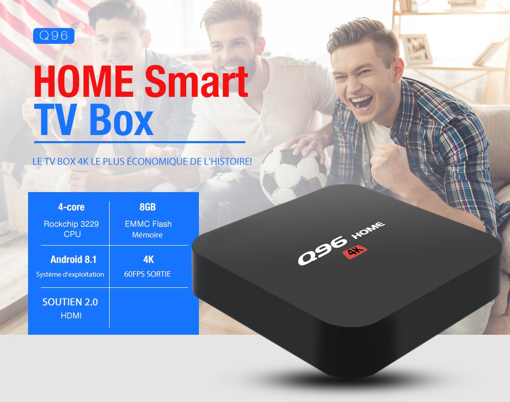 Q96 HOME TV Box Intelligent- Noir 1 Go de RAM + 8 Go EMMC EU Plug