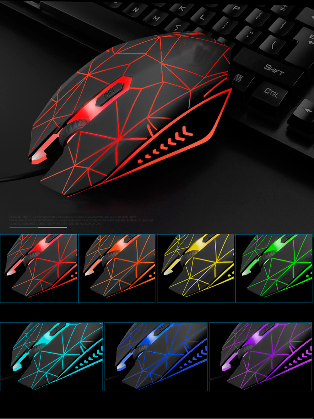 Backlit Gaming Keyboard Mouse and Headband Combos Breathing Tri Lights Gamers- Black