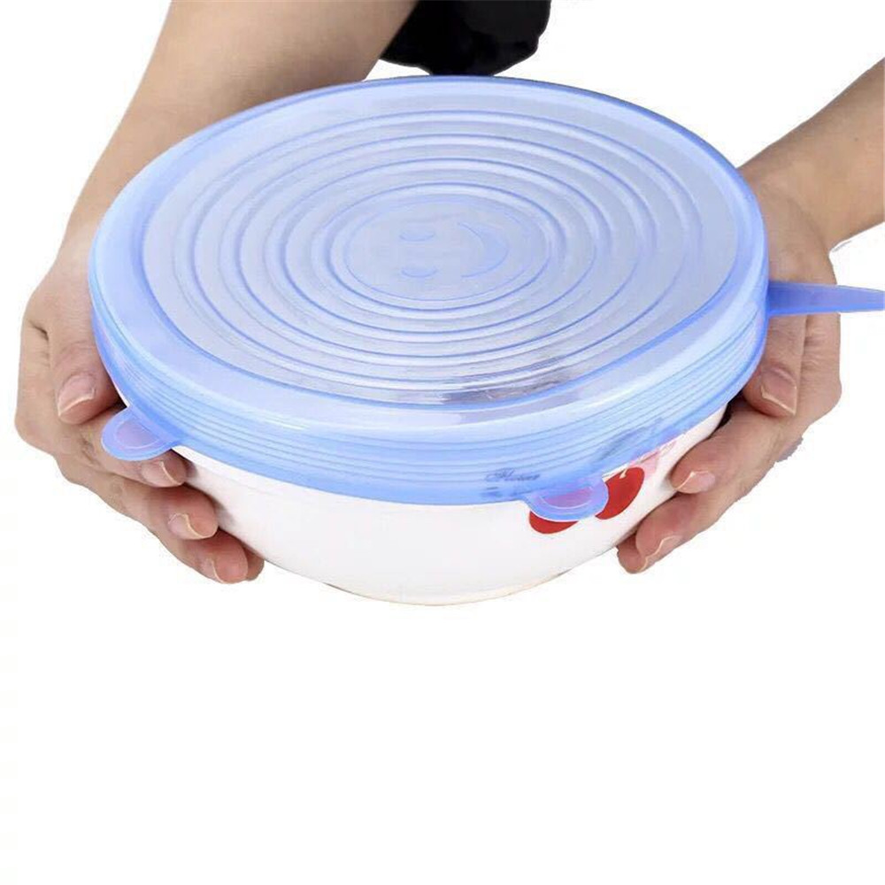 Universal Silicone Suction Lid-bowl Pan Stretch Lids Silicone Pan Cook 6pcs- Sea Blue