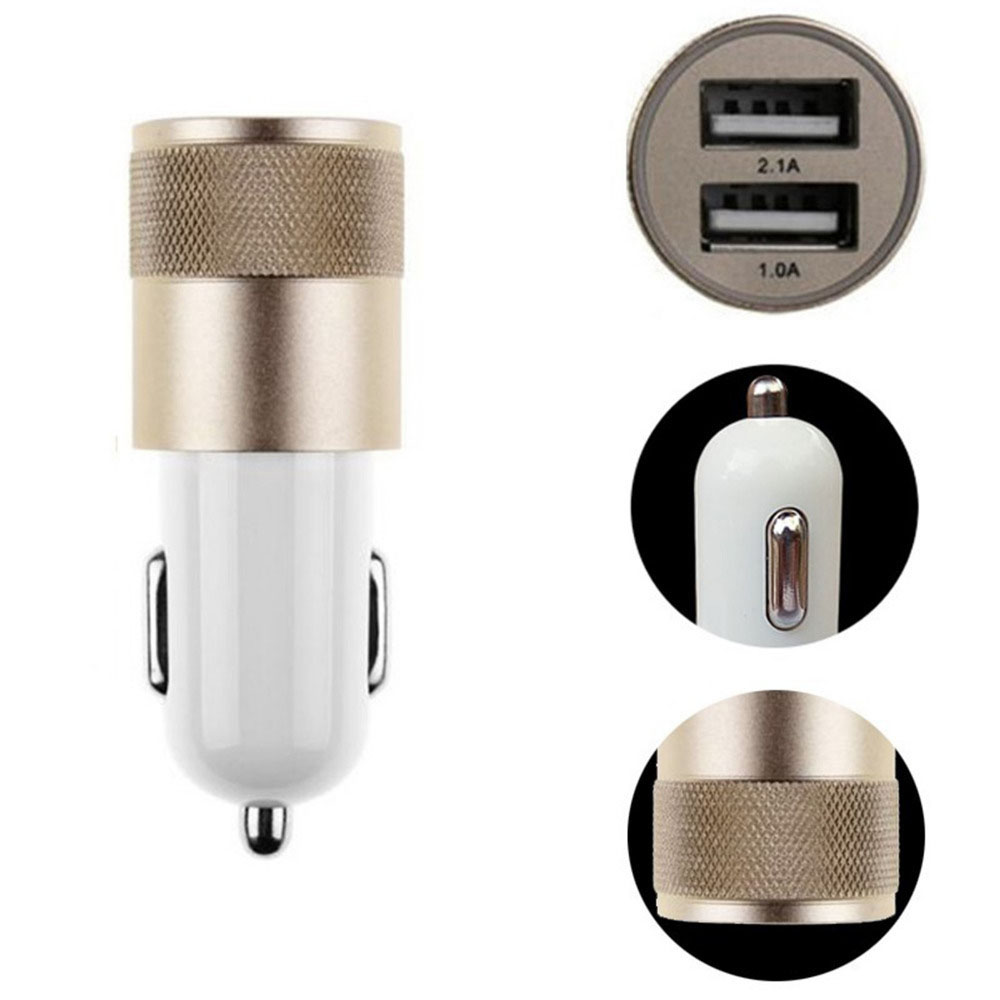 2 Ports USB Car Charger Adapter 5V 2A Universal Car Charger Dual USB Car Charger- White 2A
