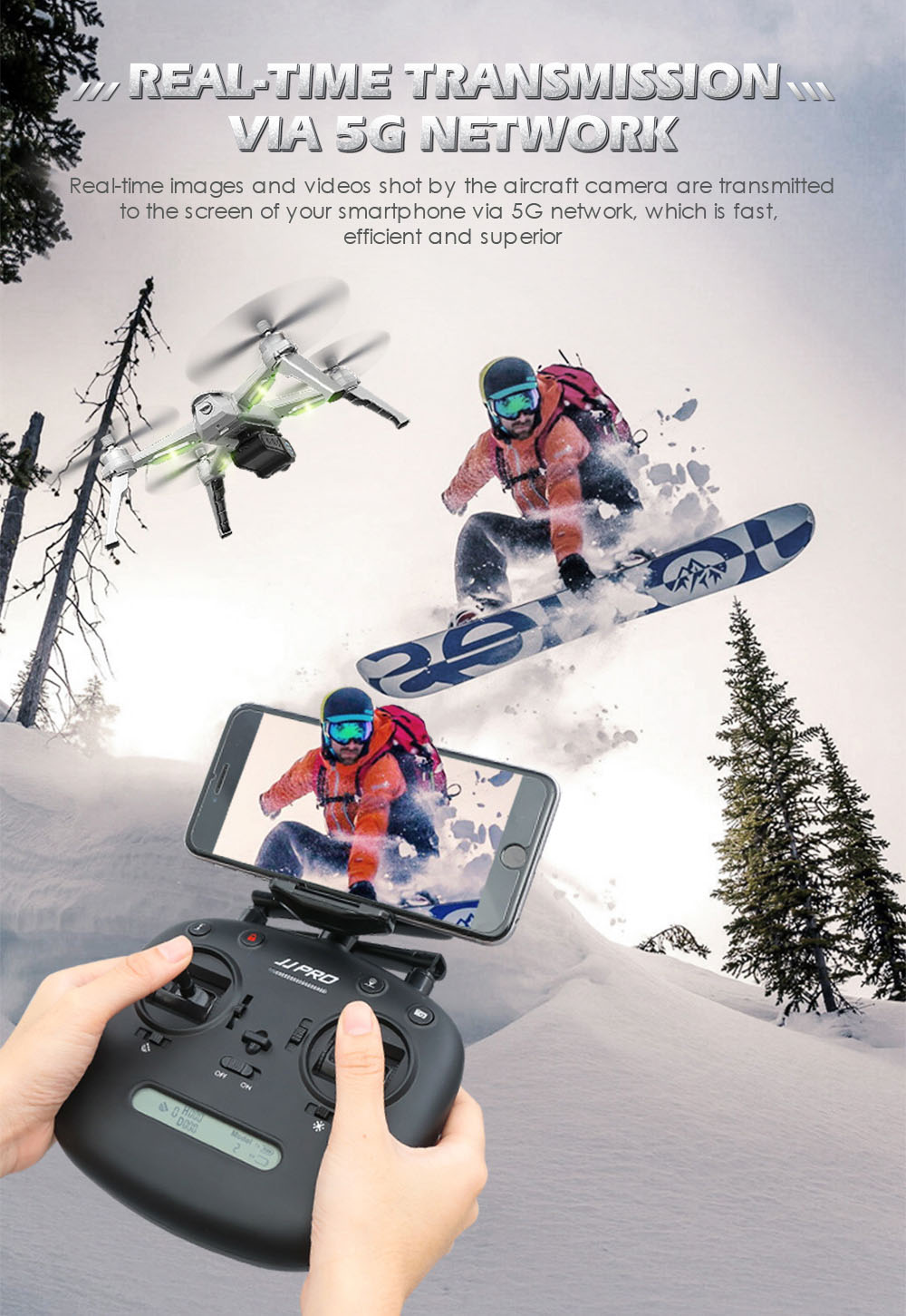 JJRC JJPRO X5 5G WiFi FPV RC Drone GPS Positioning Altitude Hold 2K Camera Point of Interesting Follow Brushless Motor- Light Gray One Battery with color box