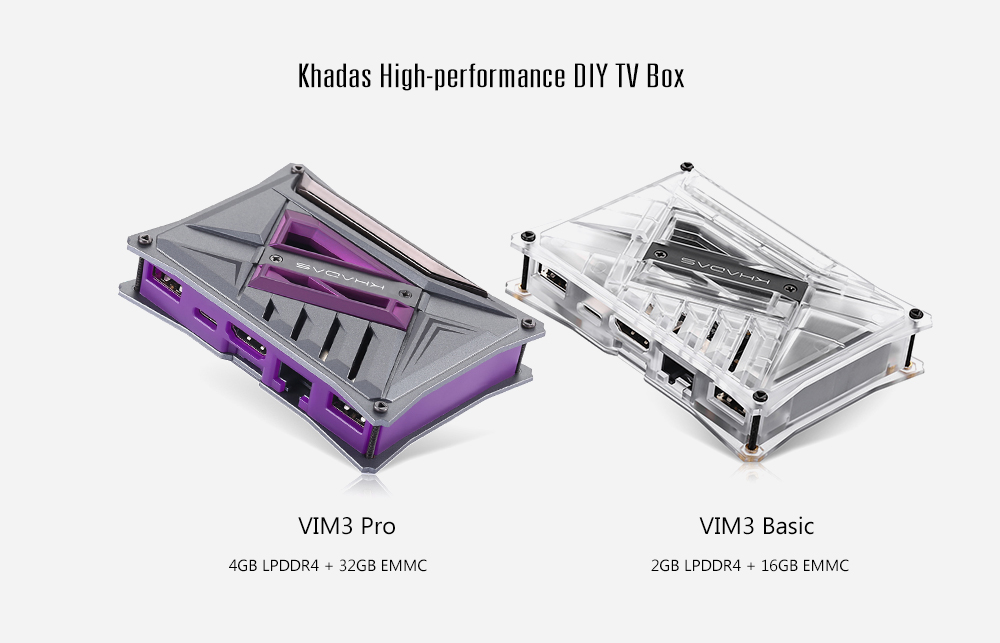 Khadas VIM3 Pro DIY TV Box Amlogic A311D / Android 9.0 / 4GB LPDDR4 + 32GB EMMC / 2.4GHz + 5GHz WiFi / 1000Mbps / BT5.0 / PCIe 2.0 / 5 x TOPS Performance NPU / Open Source SBC / H.265 / H.264 / HDR10 / Support 4K 75fps- Purple 4GB LPDDR4 + 32GB EMMC