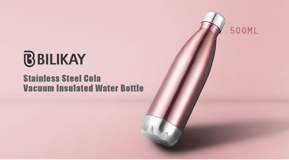 Gocomma 500ML Cola Style Stainless Steel Insulated Water Bottle- Rose Gold