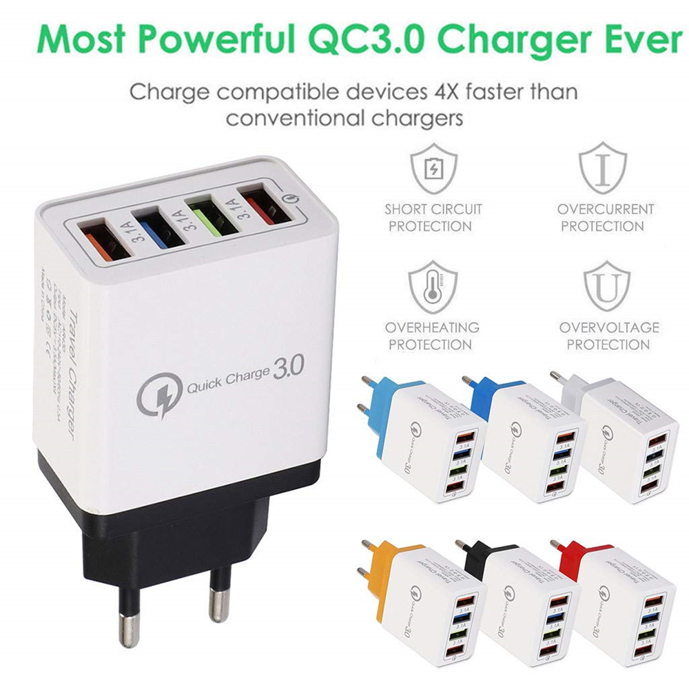 QC3.0 5V 3.5A 4 USB Port Fast Travel Charging Adapter for iPhone /Huawei/Xiaomi- Black