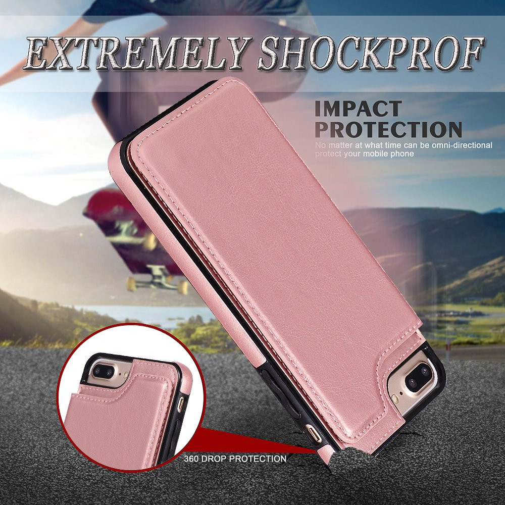 5.5 Inch Wallet Phone  Case with Card Holder for iPhone  7 Plus / 8 Plus- Rose Red