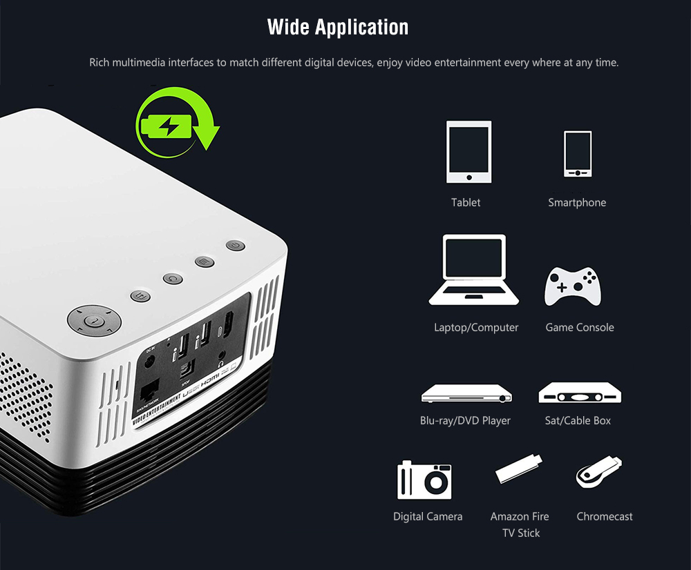 Vivibright J20 DLP Home Entertainment Projector FHD 1080P / Support 4K / 1000 Ansi Lumens / Android OS / Wi-Fi- White EU Plug