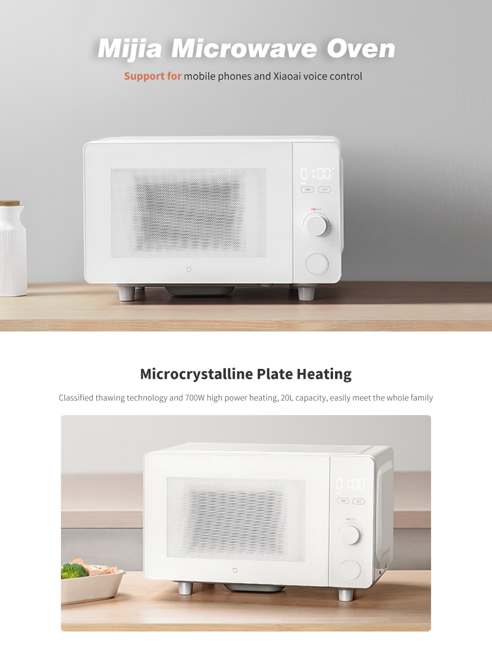 Mijia Smart APP Control 20L Large Capacity Rapid Heating Microwave Oven - White