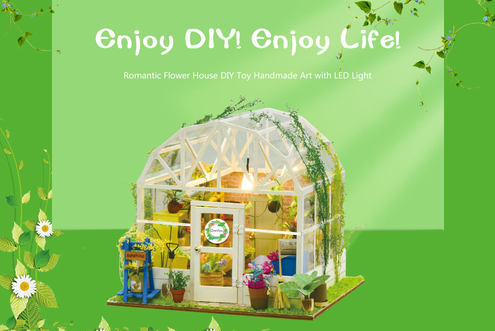 ZHIBO Romantic Flower House DIY Handmade Art LED Light Configuration Creative Toy- Multi-A