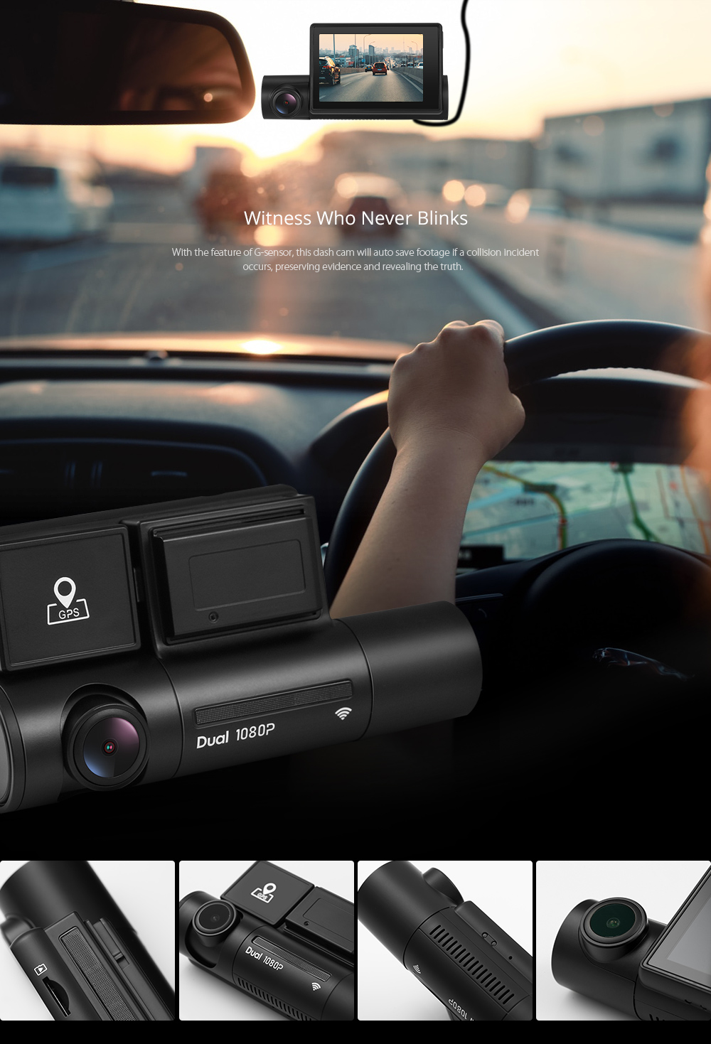 Alfawise LS02 Dash Cam 1080P Smart WiFi Car DVR Dual Camera and Supercapacitors- Black