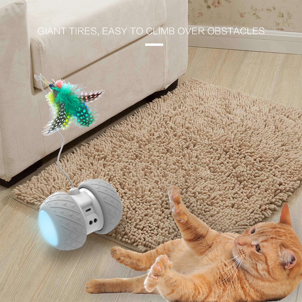 BENTOPAL P03 Smart Electronic Cat Toy Car Automatic Sensing Obstacles LED Wheel - Gray Cloud