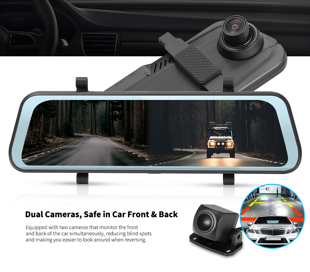 Tecney T98 Touch Screen 9.66 Inch Dash Cam Car DVR- Black