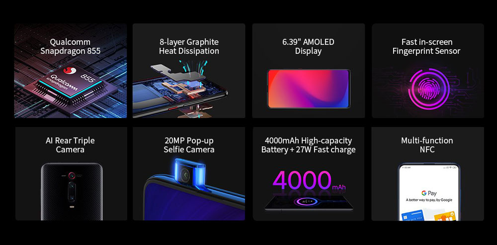 Xiaomi Mi 9T Pro 4G Phablet 6.39 inch MIUI 10 Snapdragon 855 Octa Core 2.84GHz + 2.42GHz + 1.80GHz 6GB RAM 128GB ROM 48.0MP + 13.0MP + 8.0MP Rear Camera 4000mAh Battery- Black