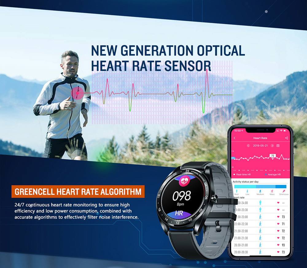 Zeblaze Heart Rate Blood Pressure Monitoring Female Health Countdown Call Rejection IP67 Color Touch Display Smart Watch- Black