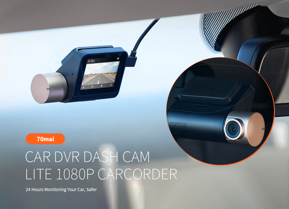 70mai DVR de carro Dash Cam Lite 1080P Speed ​​Coordinates Modules GPS Carcorder 24H Monitor de estacionamento - Preto