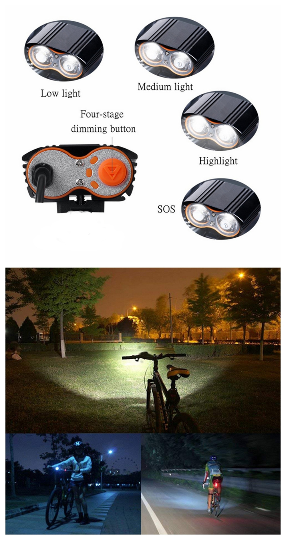 ZHISHUNJIA K2D USB Interface of 360 Degree Rotating T6 Strong Light Bicycle Lamp- Black