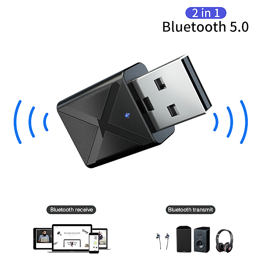 Mini 2 in 1 Bluetooth 5.0 Receiver Transmitter 3.5mm AUX Stereo Adapter- Black