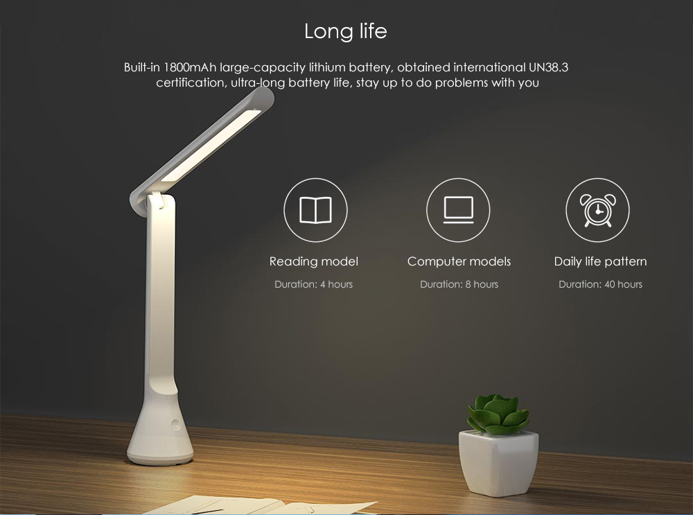 YEELIGHT YLTD11YL 40 Hours Lasting Time Light Portable Three Dimmer USB Folding Charging Small Table Lamp ( Xiaomi Ecosystem Product ) - White