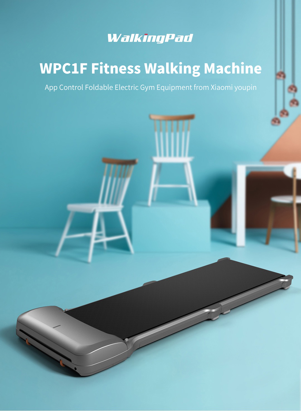 WalkingPad C1 Fitness Walking Machine App Control Foldable Electric Gym Equipment-グレー