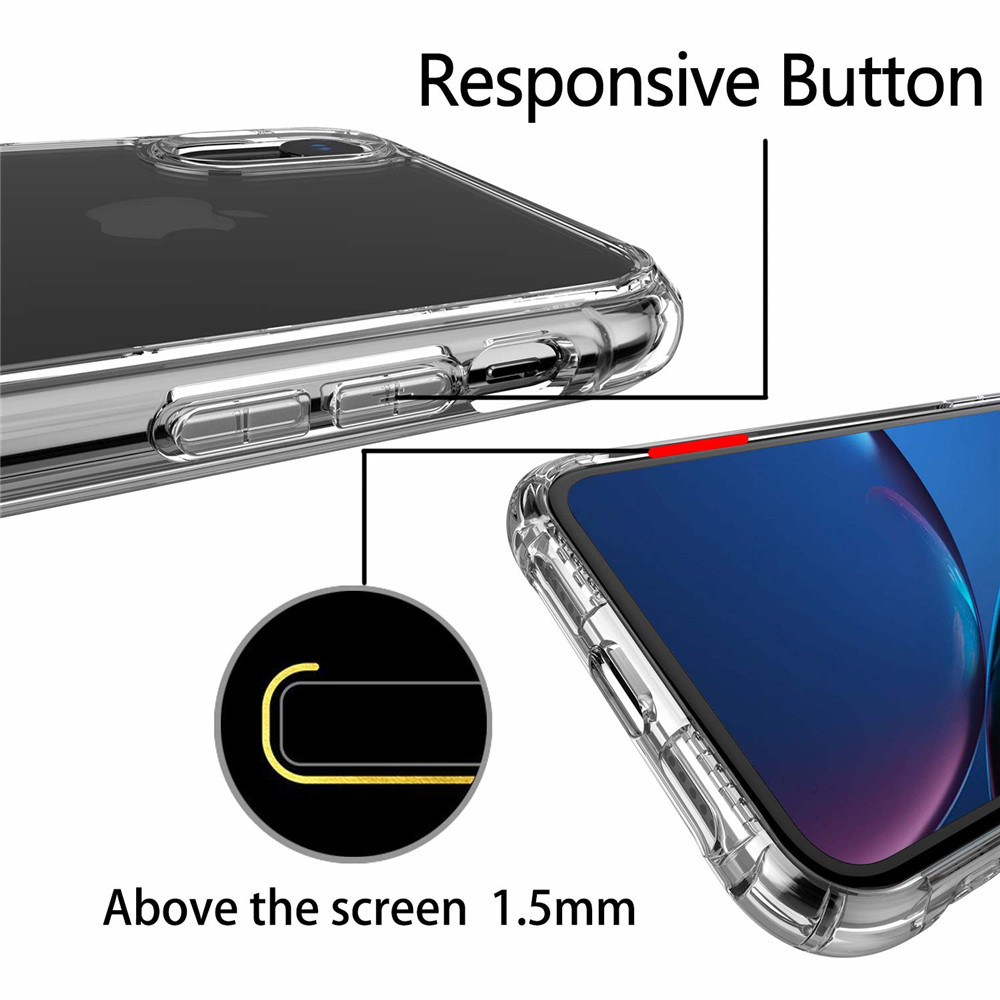 Transparent Soft Cover  Airbag Anti-drop Mobile Phone Case for iPhone XR- Transparent