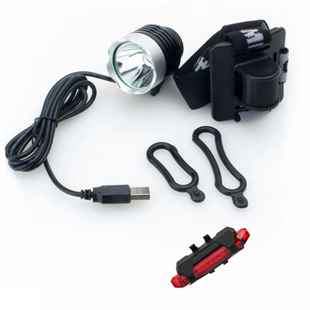 ZHISHUNJIA B01 T6 Bike Lamp USB Rechargeable Bicycle Headlamp and Taillight- Gray