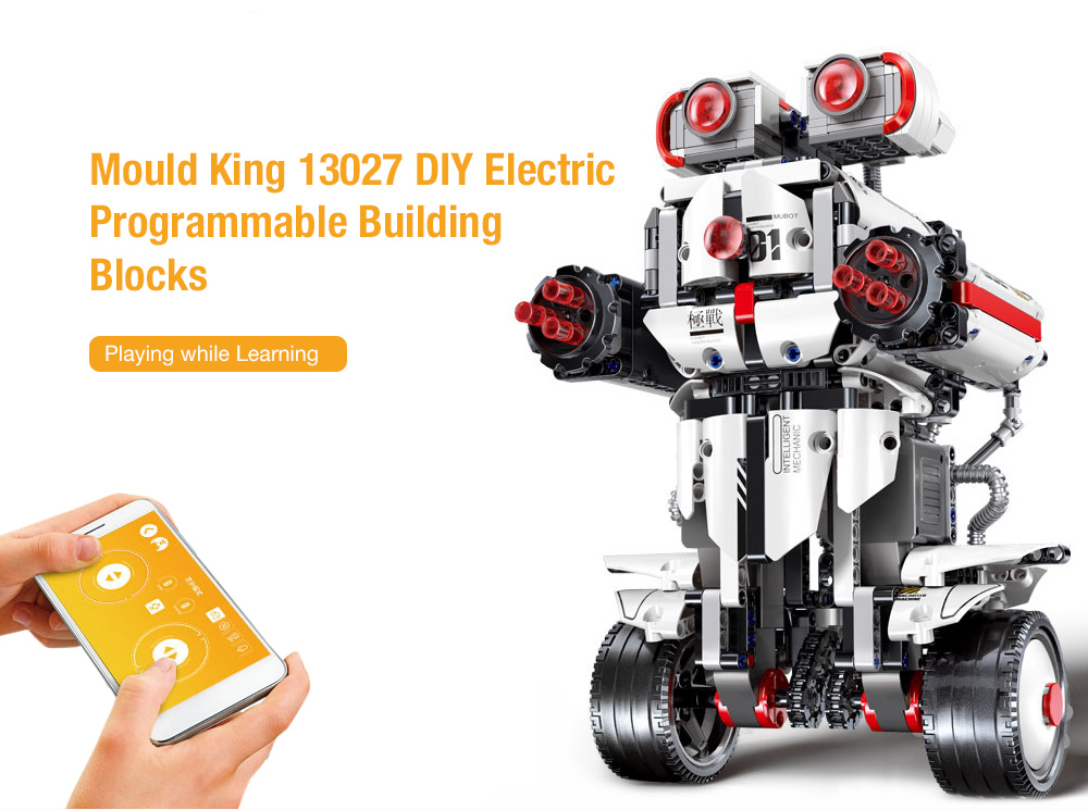 Mould King 13027 DIY Electric Programmable Smart Robot Remote Control Building Blocks Toy- White