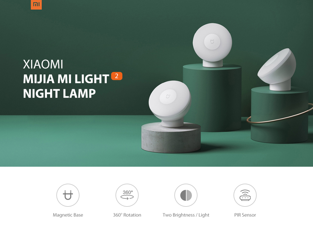 Xiaomi Mijia MJYD02YL Mi Light 2 Adjustable Brightness Infrared Smart Human Body Sensor Night Lamp with Magnetic Base- White 1Pc