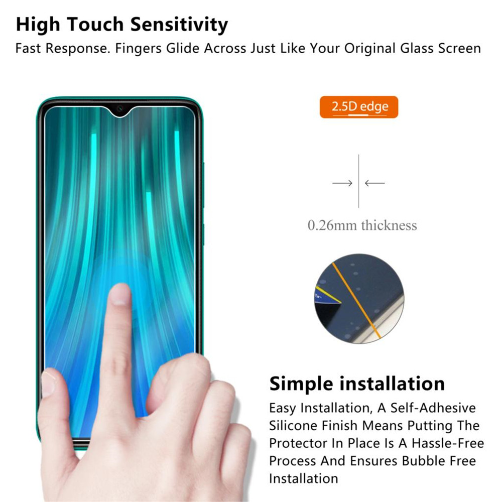9H 2.5D Tempered Glass Screen Protector for Xiaomi Redmi Note 8 Pro 1PC- Transparent