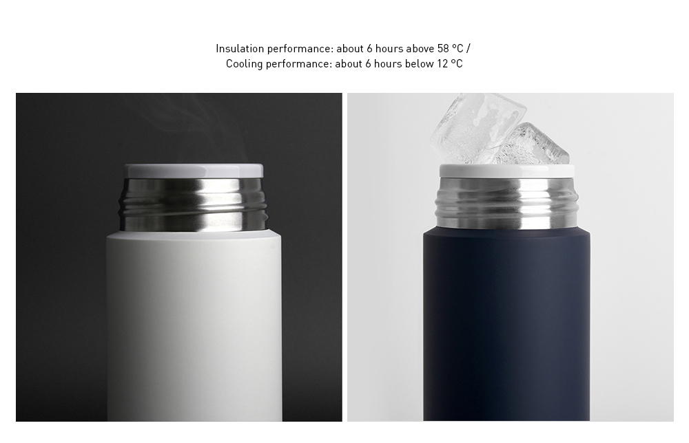 Xiaomi Mijia Mini 350ml Vacuum Flask Stainless Steel Thermos Bottles Insulation Lock Cold Cups Portable Travel Water Bottle- Black