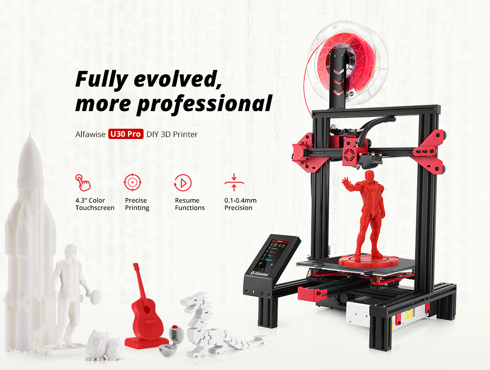 Alfawise U30 Pro 4.3 Inch Touch Screen High Precision DIY 3D Printer- Black U30 Pro US Plug
