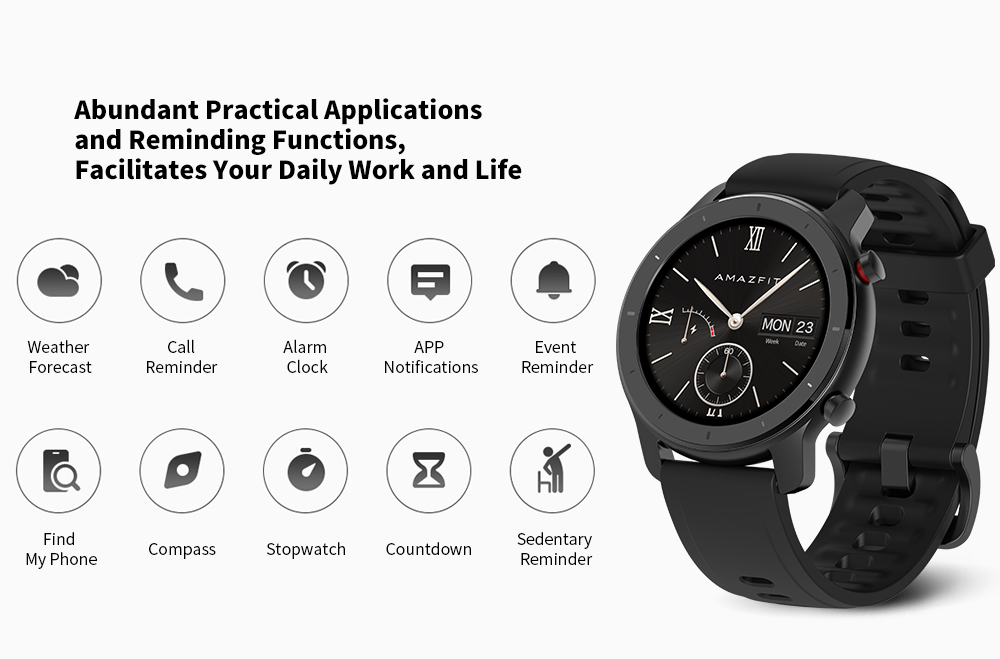 AMAZFIT GTR Smart Watch 42mm 50 Meters Waterproof 12 Sports Modes- Black 42mm Aluminum Alloy Case