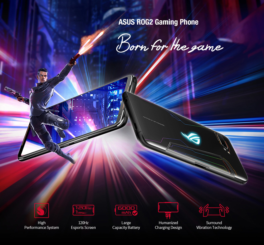 ASUS ROG2 Gaming Phone 4G Phablet 6.59 inch Android Pie Snapdragon 855 Plus Octa Core 2.96GHz 8GB RAM 128GB ROM 48.0MP + 13.0MP Rear Camera 6000mAh Battery International Version- Black