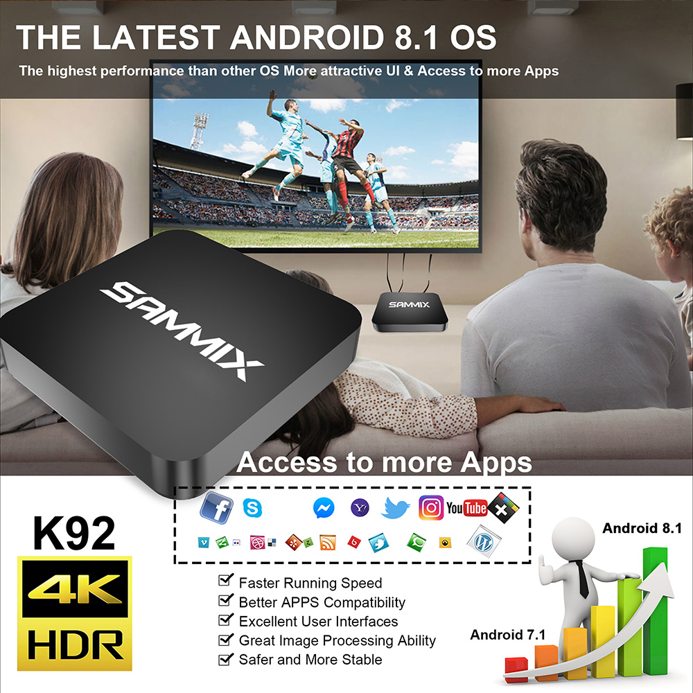 SAMMIX K92 Smart TV Box Amlogic S905X2 / ARM Dvalin MP2 GPU / Android 8.1 / 2.4GHz + 5GHz Wi-Fi / 1000Mbps / Bluetooth 4.1 / USB 3.0 / Supports 4k 60Hz- Black 4GB LPDDR4 + 32GB ROM EU Plug