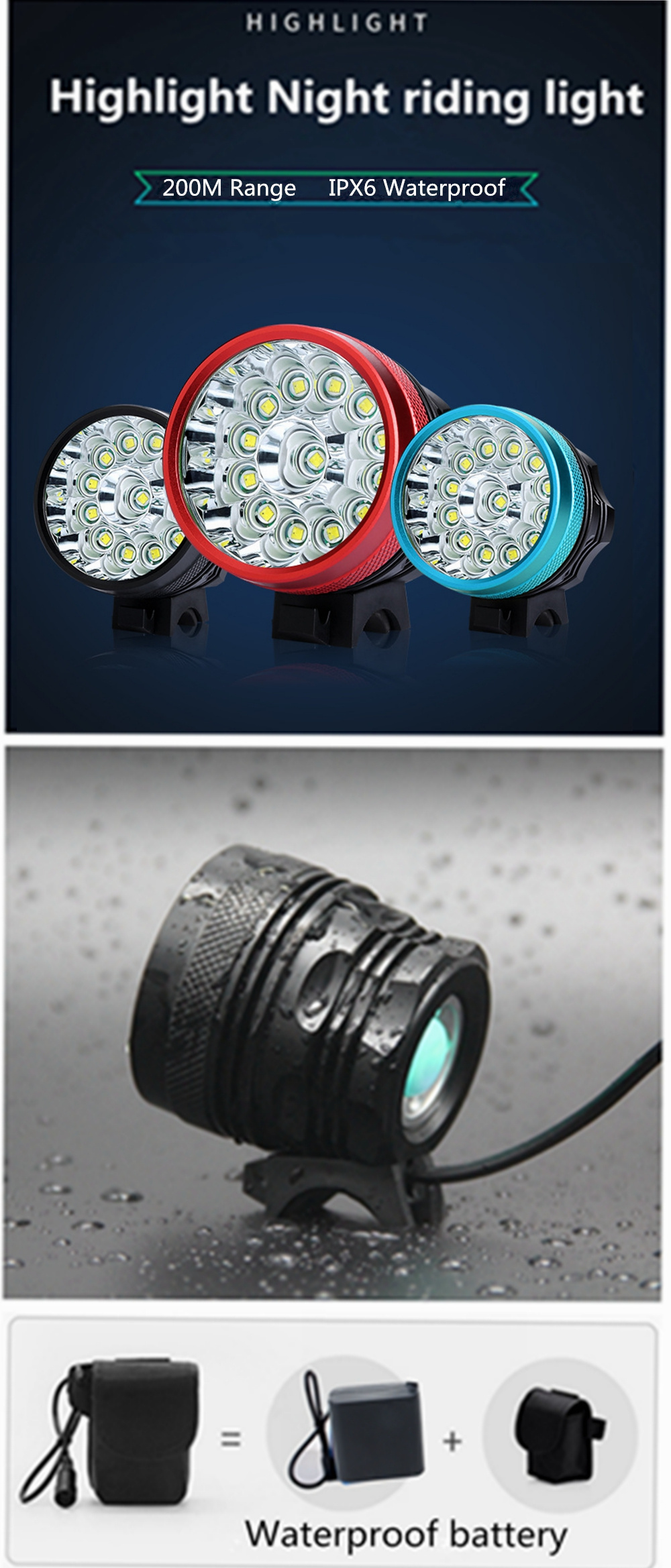 ZHISHUNJIA B13 13X XM-L T6 LED Bicycle Light with Waterproof Battery Pack- Celeste