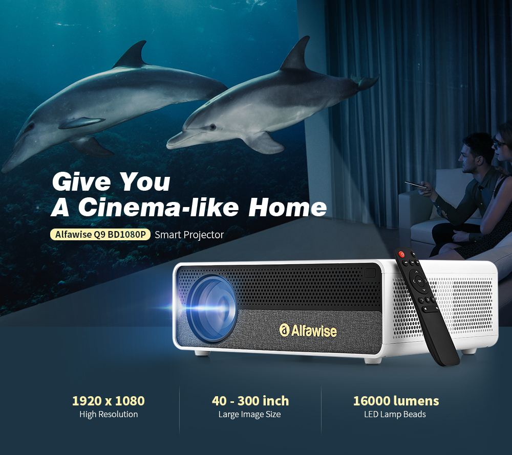 Alfawise Q9 BD1080P Smart Projector- White Basic