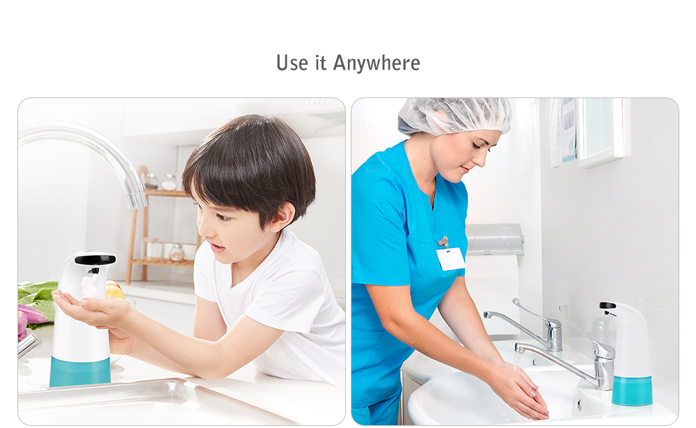 AD - 1806 Intelligent Liquid Soap Dispenser Automatic Contactless Induction Foam Infrared Sensor Hand Washing Device- Milk White