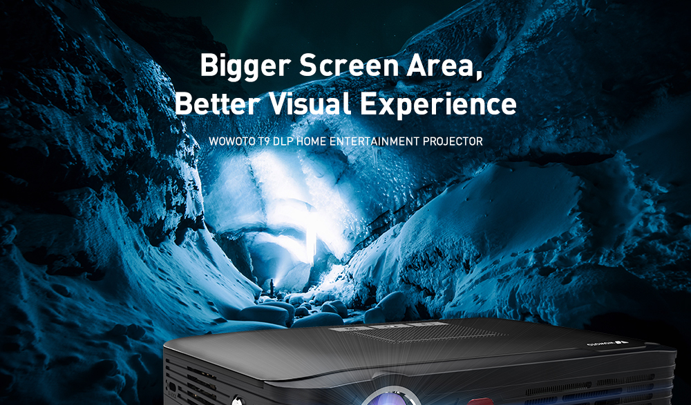 Wowoto T9 DLP Home Entertainment Projector 1280 x 800P / Support 4K / 4000lumens / Android 6.0 2G + 16G / Bluetooth4.0 / 2.4G + 5G Dual Band Wifi- Black US Plug (2-pin)