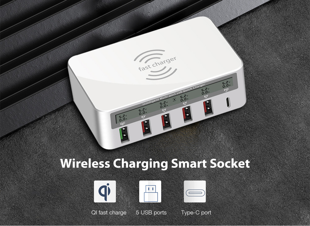 818PF Multi-port Desktop QC3.0 Fast Charger Compatible PD Protocol Support Wireless Charging Smart Socket 100W- White US Plug (2-pin)