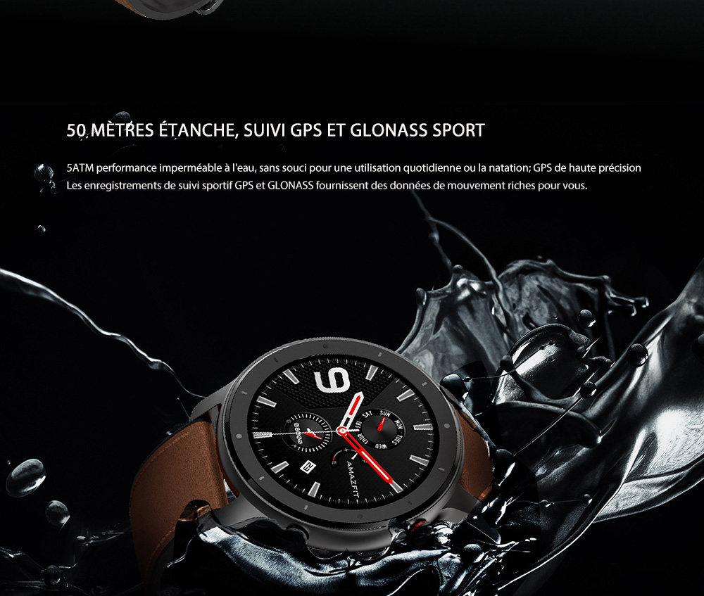 AMAZFIT GTR Smart Watch 42mm 50 Meters Waterproof 12 Sports Modes - Black 42mm Aluminum Alloy Case