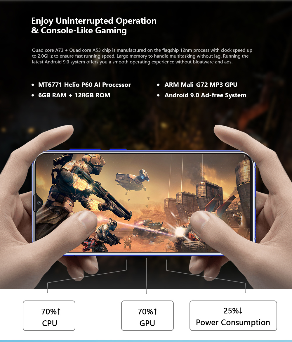 CUBOT X20 Pro 4G Phablet 6.3 inch Android 9.0 Helio P60 Octa Core 6GB RAM 128GB ROM 12.0MP + 20.0MP + 8.0MP Rear Camera 4000mAh Battery- Black
