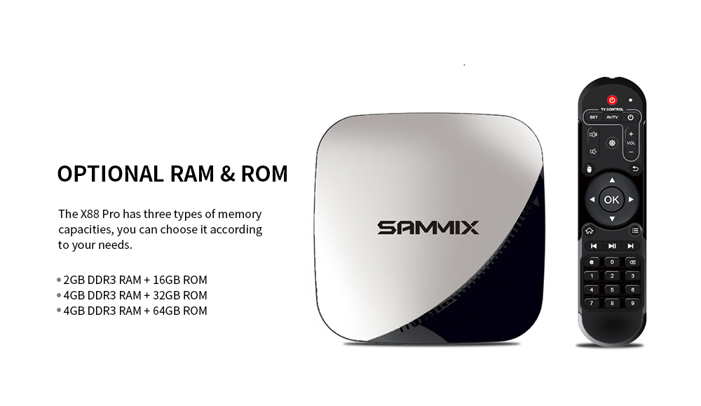 SAMMIX X88 Pro Smart TV Box Rockchip 3318 / Android 9.0 / 2.4GHz + 5GHz WiFi / 100Mbps / USB3.0 / OTA / H.265 VP9 / Support 4K- Multi-A 2GB RAM+16GB ROM US plug