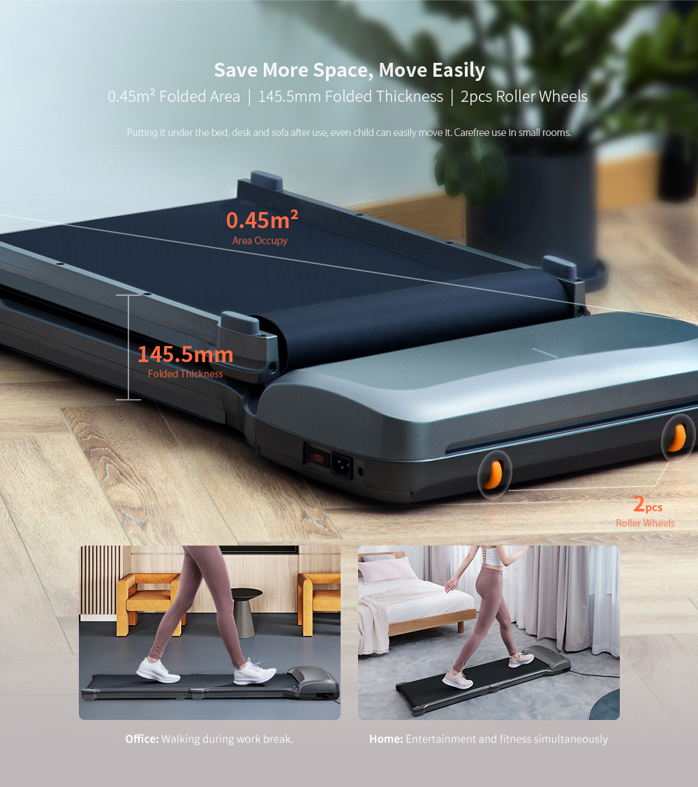WalkingPad C1 Machine de Marche Fitness Pliable Équipement de Gym Électrique de Contrôle d'Application de Xiaomi You Pin- Gris
