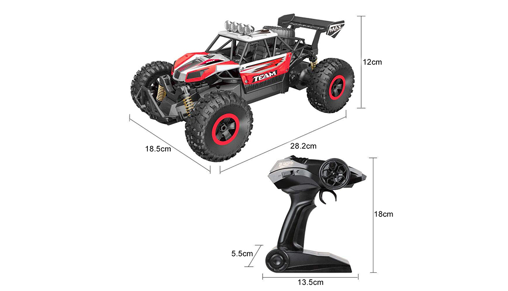 Flytec 6029 20km/h High Speed Remote Control Racing Car 2.4GHz 1:16 Off Road RC Crawler- Red