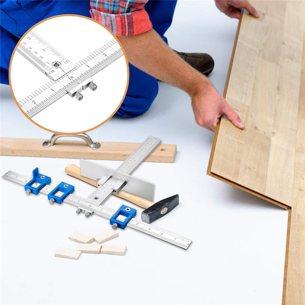 Woodworking Punch Locator Drill Guide Template Jig for Drilling Hole- Blue